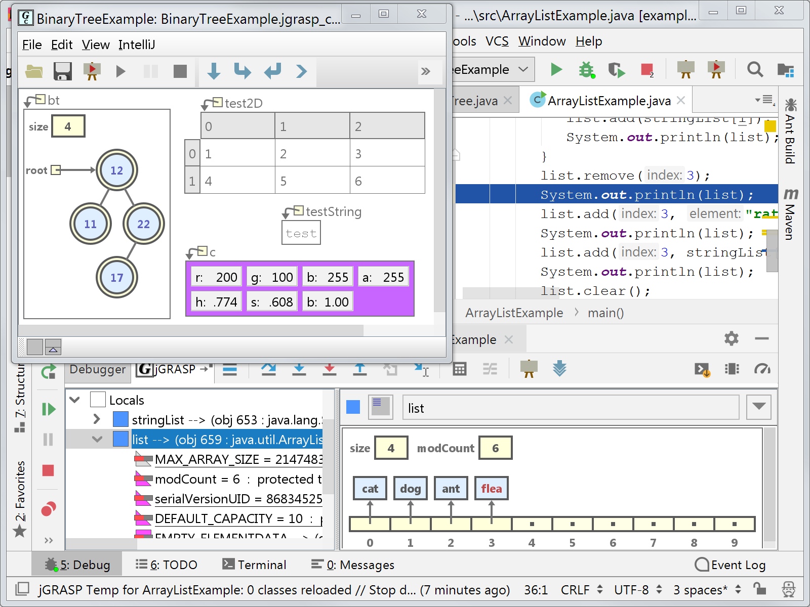 jGRASP in action in IntelliJ IDEA.